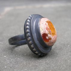 Fire Opal Ring.  Sterling Silver, Handmade.  US size 6.5