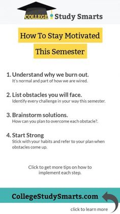 How to Stay Motivated this Semester - College Study Smarts College Motivation, Study Motivation, Motivation Quotes, Online College Degrees, Importance Of Time Management, Was Ist Pinterest, How To Stop Procrastinating, Study Tips, Study Hacks