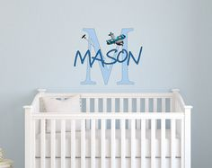 Blue Airplane wall decal Personalized Name for Baby boy nursery room 22 H x 28  sc 1 st  Pinterest & Twinkle twinkle little star wall decals for you nursery. | Baylee ...