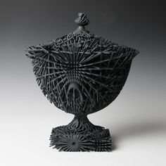 black - Michael Eden - Large Oval Dark Grey Bloom - Made by Additive Layer Manufacturing from a high quality nylon material with a soft mineral coating Urn Vase, Vases, Ceramic Pots, The Potter's Wheel, Art Fair, French Antiques, Dark Grey, Decorative Bowls, 3d Printing