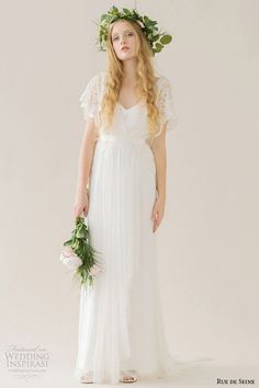 rue de seine wedding dress 2015 bridal short french lace butterfly sleeves draped bust fitted skirt column gown helena
