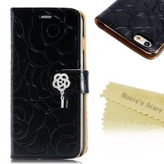 Mavis's Dairy Rose Wallet Case for iPhone 6s Plus New!!! iPhone 6s Plus Case ,Mavis's Dairy 3D Handmade special shiny Bling Diamond Rose folia Claps design Pattern leather Credit Card slots wallet case With hand wrist strap.(a2) Mavis Accessories Phone Cases
