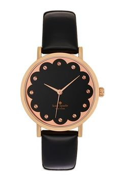 Free shipping and returns on kate spade new york 'metro' scallop dial leather strap watch, 34mm at Nordstrom.com. A lovely scalloped dial and striking leather strap give a touch of sweet glam to a classic round watch.