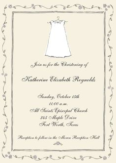 Personalized Baptism Dress Invitations