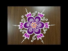 Simple Lotus Flower Rangoli Design With Colours Easy Rangoli Designs Diwali, Rangoli Simple, Simple Rangoli Designs Images, Rangoli Designs Flower, Small Rangoli Design, Rangoli Designs With Dots, Flower Rangoli, Rangoli With Dots, Beautiful Rangoli Designs