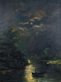 Moonlit River Scene, early 20th,Unknow artist.