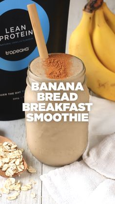 Who wouldn't want to try a banana bread flavoured smoothie! Smoothies For Kids, Easy Smoothies, Breakfast Smoothies, Fruit Smoothies, Smoothie Recipes, Snack Recipes, Detox Breakfast, Protein Smoothies, Healthy Drinks