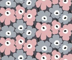 Marimekko Marimekko Pieni Unikko Wallpaper Fog Grey/Dusty Rose/Steel Grey - KIITOSlife - 1