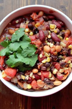 Crock Pot Vegetarian Three Bean Chili