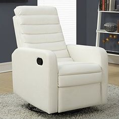 Monarch Specialties White Bonded Leather Swivel Glider Recliner *** You can find out more details at the link of the image.Note:It is affiliate link to Amazon.