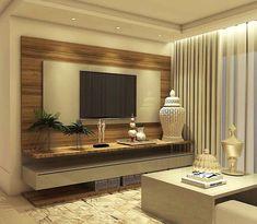 """267 Likes, 8 Comments - Projetos e Obras (@millenamiranda_arquitetura) on Instagram: """"Sala de estar com esse painel de tv em tons de madeira e cinza . . Quer reformar ou decorar? …"""""""