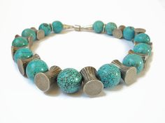 GIFT IDEA Blue turquoise gemstone beaded by FlorenceJewelshop, €195.00 Challenge Your Creativity https://www.facebook.com/groups/1426448577629600/