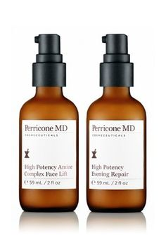 Perricone MD The High Potency Collection by Perricone MD. $155.00. High Potency Amine Face Lift 2oz - Combines Dr. Perricone's most effective anti-aging ingredients suspended in a proprietary delivery system to deliver a healthy, youthful, renewed complexion.  High Potency Evening Repair 2oz - A hydrating treatment that imparts a supple, glowing, and youthful complexion while you sleep. With Retinol, DMAE, and Alpha Lipoic Acid.