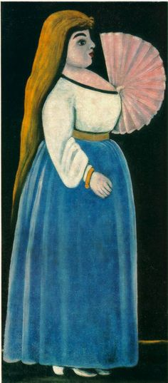 Ortachalian Beauty with Fan, Niko Pirosmani (1862 - 1918)
