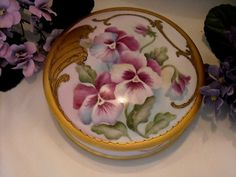 Stunning, Rich, Limoges Large Dresser Jar with Vivid Pansies, Heavy Gold Scroll