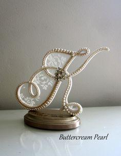 Wedding Cake Topper Custom Letter K Vintage by ButtercreamPearl