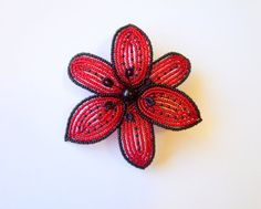French Beaded Lily flower hair clip in red and black by LaurenHCreations on #Etsy