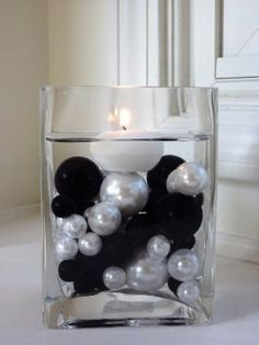 Black Pearls Vase Fillers for Event Decor and Centerpieces – Vase Pearlfection Blue Wedding, Dream Wedding, Wedding Day, Black Weddings, Black White Parties, Black And White, Pink Black, Hot Pink, Silver Party Decorations