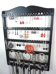 Jewelry Display, Earring Holder, Boutique Quality & Design, 20 Peg Bracelet Necklace Holder, 54-108 Pairs, Ebony, Oak, Wood, SHIPS 8/30. $39.95, via Etsy.