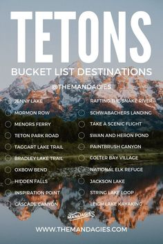 Grand Teton National Park Bucket List, Things to do in Grand Teton National Park, Wyoming - Grand Teton National Park, Yellowstone National Park, Glacier National Park Montana, Idaho, New Orleans, Las Vegas, Yellowstone Vacation, Wyoming Vacation, Visit Yellowstone