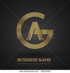 Letter AG or GA linked logo design circle G shape. Elegant gold colored letter symbol. Vector logo design template elements for company identity
