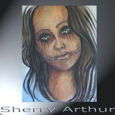 Woman Face Stapled Into Smile Original Emotional by sherryarthur, $95.00