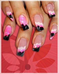 Black white and pink combination, all nails are filed square but the pinky.