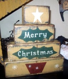 MERRY CHRISTMAS tree PRIMITIVE BLOCK SIGN SIGNS (lots of other cute block signs!)