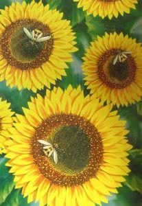 Sunflower with Bees Summer Garden House Flag