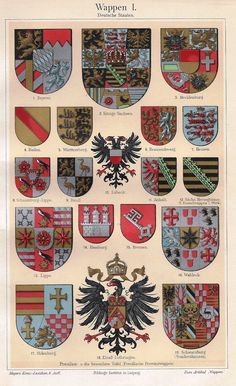 "MEYERS'S LEXICON - COATS OF ARMS DESCRIPTION Fine chromolithograph from ""MEYERS'S LEXICON"". It was published in Leipzig in 1913. The colored lithograph has an image about 8"" x 5"" on a page that is abo"