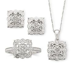 1/4 CT. T.W. Diamond Vintage-Style Jewelry 3-Piece Set - jcpenney $75