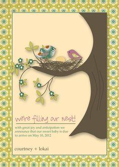 Pregnancy Announcement Card - Filling your nest. $15.00, via Etsy.