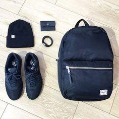All black starter kit.  Herschel Supply Settlement backpack, Nylon Collection.
