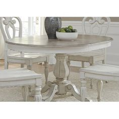 Magnolia Manor Dining Pedestal Table with Leaf by Liberty Furniture at Wayside Furniture Round Pedestal Dining Table, Solid Wood Dining Table, Extendable Dining Table, Dining Table In Kitchen, White Dining Room Table, Round Tables, Dining Sets, Kitchen Island With Granite Top, Painted Kitchen Tables