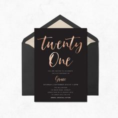 21st Birthday Invitation Featuring Faux Rose Gold Foil