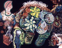 "Treiops Treyfid artwork. Hidden In The Grid. Oil painting on canvas, 37w"" x 30h"". #treiops #painting #artwork www.treiops.com/art"