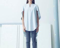 Women linen Clothing Asymmetric long sleeved shirt Dark by MaLieb