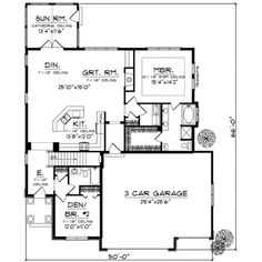 Traditional Style House Plan - 2 Beds 2 Baths 1822 Sq/Ft Plan #70-722 Floor Plan - Main Floor Plan - Houseplans.com