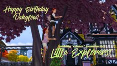 and I are here with a belated birthday gift to our lovely friend We thought that Apple and Kai would like some new gear for their adventures! Sims 4 Couple Poses, Kid Poses, Couple Posing, Tree Base, Belated Birthday, Is 11, Have A Great Day, Adventure, Composition