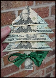 Fold money into a little Christmas tree