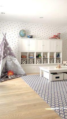 A Modern and Organized Children's Playroom A Bright, organized and airy kid'. A Modern and Organized Children's Playroom A Bright, organized and airy kid's pla… Living Room Playroom, Modern Playroom, Playroom Design, Kids Room Design, Playroom Decor, Playroom Layout, Playroom Table, Kids Room Rugs, Play Room For Kids
