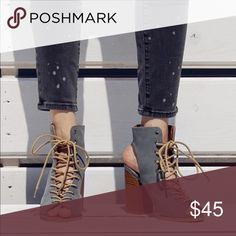 Ladies peep toe backless lace up boooties . NIB So stylish suede lace up backless high top booties. Around 3 inches heels, true to size medium fit. Grey color. Man made suede.New in box. NO TRADES Shoes Heels