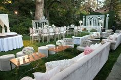 Hotel Bel Air Cocktail Hour with Cabanas and blush/white accents