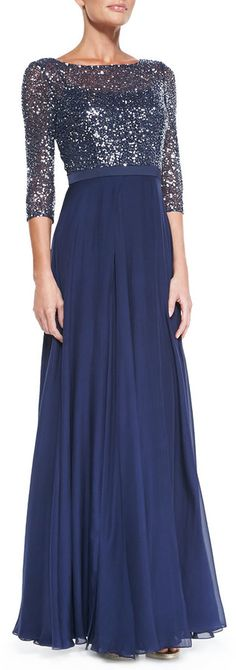 A cheaper bridesmaid friendly dress would be great. Kay Unger New York 3/4-Sleeve Sequined Lace Bodice Gown on shopstyle.com