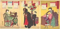 Sewing of Western Clothes for Lady Officials Toyohara Chikanobu