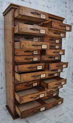 How cool is THIS?!!! Want it! Tall Multi Drawer Pine Chest C1900 - Antiques Atlas