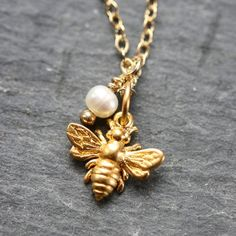 RESERVED FOR ASHLEY: Tiny Golden Bee Necklace - Freshwater Pearl and 14 Karat Goldfill