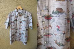 Reyn Spooner Blue Ducks Fishing Moose Cabin by GeekGirlRetro