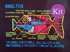 Babel Fish cross stitch kit (Hitchhiker's Guide to the Galaxy) with pattern, thread and fabric The Hitchhiker, Hitchhikers Guide, Cross Stitching, Cross Stitch Embroidery, Cross Stitch Patterns, Galaxy Cross, Guide To The Galaxy, Back Stitch, Stitch Kit