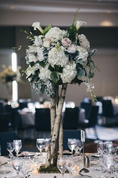 Unique wedding centerpiece idea - tall birch branches with hydrangea and rose flower arrangements {CliffCPhotography} Birch Centerpieces, Unique Wedding Centerpieces, Wedding Table Flowers, Wedding Flower Decorations, Wedding Ideas, Wedding Fun, Centerpiece Ideas, Wedding Colors, Wedding Decor